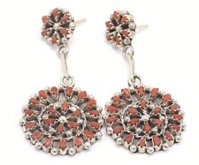 Zuni Handmade Coral Cluster Earrings Set In Sterling Silver-Dena Lonjose