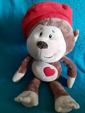 """Rare Ganz Eeks Brown Monkey Plush Red Heart on chest, red Beret 18"""" ❤️"""