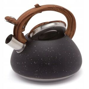 Whistling Kettle Induction  Kettle Stainless Steel Camping Gas  3 L Black