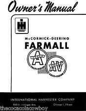 FARMALL SUPER A SUPER AV Owner Operator manual IH