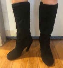UNITED NUDE UN BLACK PULL ON SUEDE HEEL BOOTS PULL CORD 36 6