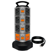 Surge Protector Power Strip 14 Outlets 4 USB/ Rotating Tower/ 6FT Wire Extension