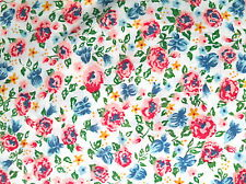 FAT QUARTER FABRIC PATCHWORK PRETTY POLYCOTTON FLOWERS PINK BLUE GREEN LEAVES AU