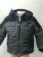 BOYS TU BLACK  & GREY HOODED QUILTED PADDED COAT JACKET KIDS AGE 3-4 YEARS