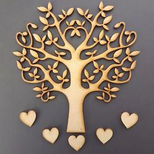 Wooden MDF Tree Shape blank,Family Tree,Wedding,Guestbook,Crafting - FREE heart