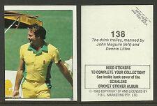 AUSTRALIA 1983 SCANLENS CRICKET STICKERS SERIES 2 - DENNIS LILLEE  (AUST) #138