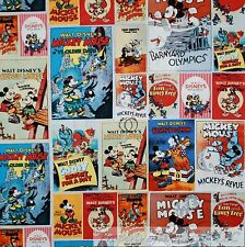 BonEful FABRIC FQ Cotton Quilt B&W Mickey Mouse KId Disney Comic Patchwork Retro