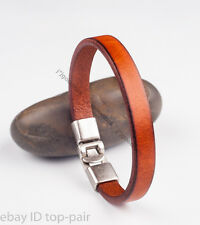 SIMPLY COOL SINGLE BAND SURFER GENUINE LEATHER BRACELET WRISTBAND MEN'S BROWN