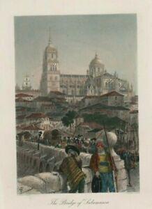 ROMAN BRIDGE CATHEDRAL SALAMANCA SPAIN Hand Coloured c.1872 HL3.1284