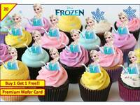 40 Disney Frozen Elsa Birthday Party Cup Cake Toppers Edible Card *STAND UP XMAS