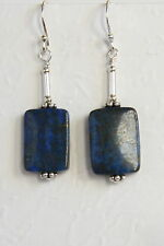 STERLING SILVER 925 Blue EARRINGS Natural LAPIS LAZULI GEMSTONE Handmade