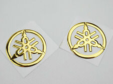 2x 40mm Tuning Fork Tank Fairing Emblem Decal Sticker For Yamaha Racing Gold