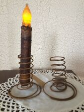 TWO RUST Wire Spiral Taper Candle Holders Primitive Design Reproduction Springs