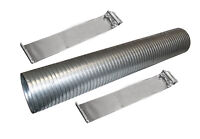 "36"" Galvanized Flexible Exhaust Tubing 4"" Diameter Flex Pipe with 2 Band Clamps"