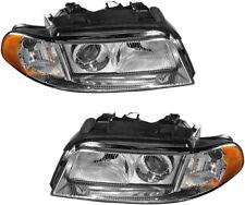 NEW Headlamps Headlights (Xenon Halogen) Pair Set for 2000 2001 2002 Audi A4 S4