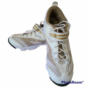 Shimano SH-WF23 Womens Indoor Cycling Shoes White Gold Size 8.5