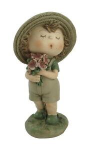 Deko Wichtel Kind Figur Junge mit Blumen Garten Mädchen Skulptur Zwerg Gnom