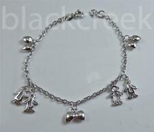 """925 Solid Sterling Silver ~ 7-7.5""""  Adjustable Charm Bracelet  With 10  Charms"""