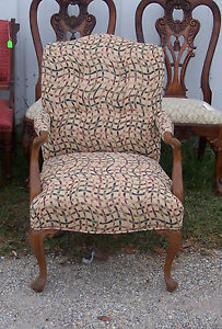 Walnut French Armchair / Parlor Chair-abstract print  (AC101)
