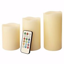 """3 Pcs Flameless Flicker LED Pillar Candle Multi-Color Remote Control 3"""" 4.5"""" 6"""""""