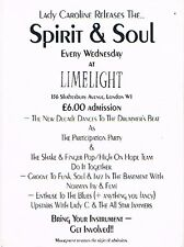 SPIRIT & SOUL Rave Flyer Flyers 1989/1990 A5 The Limelight London W1