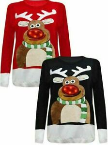 Womens 3D Rudolph Nose Jumper with LED Flashing Lights Christmas Party Jumper