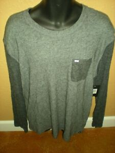 NEW Hurley Long Sleeve Light Weight Sweater Shirt Gray Men's Size Large