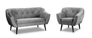 2,3 Sitzer Sofa Sessel Velour Skandinavisch Holzfüße Steppung Grau Rosa Grün Top