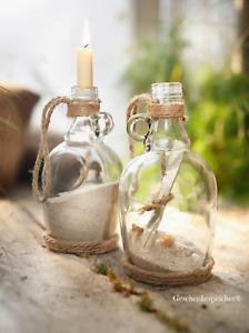 Flaschenpost Strandgut Maritime Dekoration Glas Flaschen mit Griff - 2 Stück Set