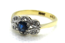 18ct Yellow Gold & Platinum Art Deco Sapphire and Diamond Ring SIZE L
