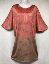 Issa London Red Gray 100% Silk Goddess Caftan Dress sz 8