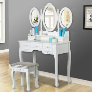 Dressing Table with Stool Mirror Jewellery Cabinet 7 Drawers Organizer White