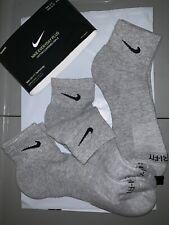 Nike Tech 8-12 Performance Dri Fit Cushioned Quarter Ankle Socks 3-Pk New Grey