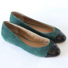 Kelsi Dagger Jordi Green Suede Ballet Flats Cap Toe Black Patent Leather Shoes 6