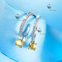 18k white gold gf made with SWAROVSKI crystal stud citrine earrings 925 silver