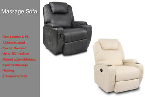 Real Leather Electric Recliner Chair Sofa Armchair Adjustable Head Massage Heat