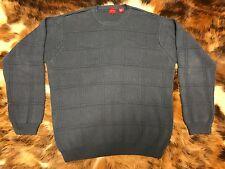 ARROW Men's Sweater Blue Crewneck Window Pane Knit 100% Cotton Size L