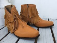 womens yellow short leather fringe boots size 37