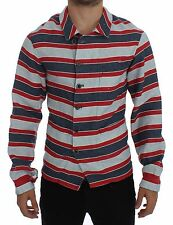 NWT DOLCE & GABBANA Blue Red Striped Runway Casual Linen Shirt 48 /US38 /M