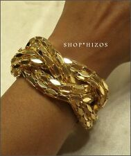 "NEW GOLD BRAIDED TWIST LINK CHUNKY 7"" TOGGLE BRACELET"