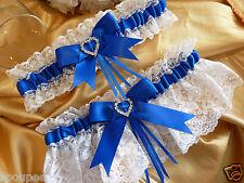 GARTER SET WHITE ROYAL BLUE WEDDING BRIDE FRENCH SATIN LACE heart diamante gift