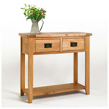 Small Solid Rustic Light Oak Hallway Console Table | Oak Living Furniture CB11