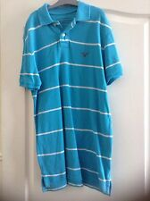 American Eagle Polo Shirt turquoise avec rayures blanches-Homme Small
