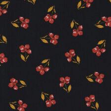Baumwollstoff GOTS Bio Popeline Blumen Blatt schwarz rot ocker 1,50m Breite