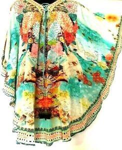 Kaftan 85cms/ Stunning/Embellished 100% Viscose /Beaded Ties Lace-up /RR$149.95