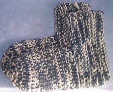 New handmade Knit boot SLIPPERS booties Navy Blue adult sz M very warm snug