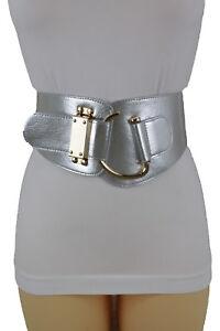 Women Fashion Belt Metallic Silver Stretch Waistband Gold Hook Buckle L XL XXL