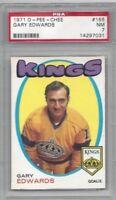 1971 OPC hockey card #155 Gary Edwards, Los Angeles Kings graded PSA 7 NM