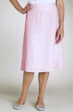 $218 Eileen Fisher Handkerchief Linen French Knots Pink Skirt M