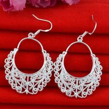 "Unique & Elegant Pure 925 Sterling Silver Flower Style 2"" Earrings #009"